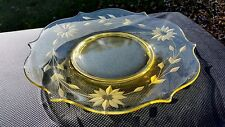 "Lancaster Glass Co. Yellow / Topaz Jubilee 8 3/4"" Luncheon Plate"