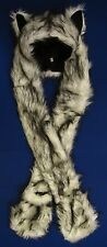 White Wolf Hood Husky Faux Fur Hat with scarfs mittens & paws Spirit 3 in 1