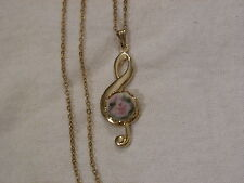 ...Gold Tone,Porcelain Flower Cameo Music Clef Pendant Necklace...