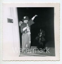 1950s snapshot photo Young Boy in Hobo Halloween costume with dog