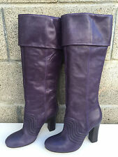 Miss Sixty Purple leather cuffed tall boots shoes sz 7B/37