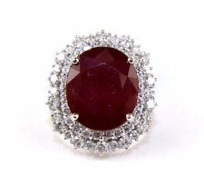 Fine Huge Oval Cut Ruby Cocktail Ring w/Diamond Halo 14k White Gold 14.30Ct
