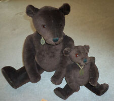 "12"" Little Arthur & 22"" Arthur Rigsby Dark Brown Mohair Little Folk Teddy Bears"