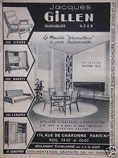 PUBLICITÉ 1956 JACQUES GILLEN ENSEMBLIER ÉDITEUR DE MAXIME OLD - ADVERTISING