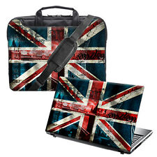 "TaylorHe 15.6"" Laptop Shoulder Bag Handles Strap & Skin Bundle Union Jack 1177"
