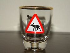 Moose Crossing Shot Glass Norway Norwegen Red White Black Gold Clear Souvenir