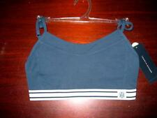 New Tommy Hilfiger navy blue cross front crop Bra womens XS   Low impact workout