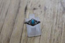 bijoux / petite bague en argent decors floral pierre turquoise T 52 ref 188