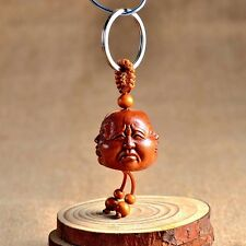 Wood Carving Chinese Feng Shui Geomancy Four Face Buddha Statue Key Chain Ring