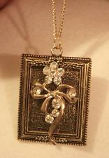 Handsome Bead Rim Picture Frame Bowed Flower Bouquet Goldtone Pendant Necklace