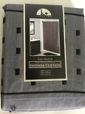 India Ink GEO BLOCK Gray Black Embroidered Faux Silk Fabric Shower Curtain NEW
