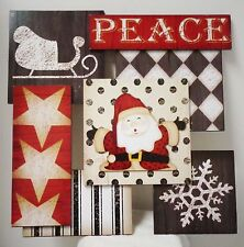 "Christmas Wooden Plaque (Peace) 14"" square (new) from Canada 2015"