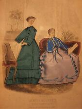 Ancienne Gravure de Mode Habillée 1866 Vêtements Rossignon, Raboin