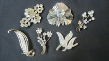 6) Vintage Clear Rhinestone Ladies Brooches, Two Marked Austria