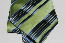 New Mens Geoffrey Beene Silk Suit Tie Necktie A Ground Stripe Green Blue