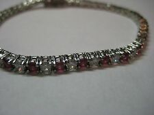 """Tennis Bracelet with 7.00ctw Genuine Ruby & White Sapphire is 7"""" long"""