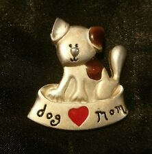 "Pewter ""DOG MOM"" Brooch CUTE PUPPY Lapel Pin"