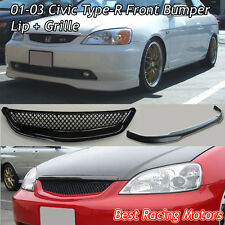 TR Style Front Lip (Urethane) + TR Style Grill (ABS) Fits 01-03 Civic 2/4dr