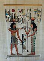 "NEW HAND PAINTED EGYPTIAN PAINTING ON PAPYRUS 12""x16"" A75"