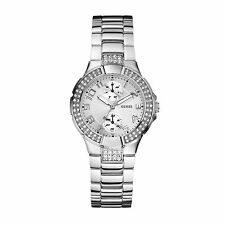 ..GUESS..U12003L1 SILVER TONE STATUS-IN-THE-ROUND WATCH-SIMPLY STUNNING!