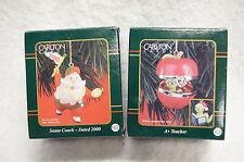 2 Carlton Cards Christmas Ornaments LOT Santa Coach 2000 A+ Teacher Apple Worm