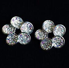 USA EARRING Rhinestone Crystal GEMSTONE Stud Flower Clear Silver NN2