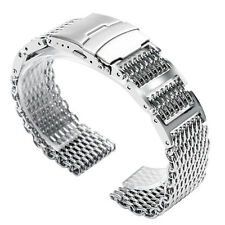 Shark Mesh Stainless Steel Strap Link Men Push Button Watch Band HQ Silver 22mm