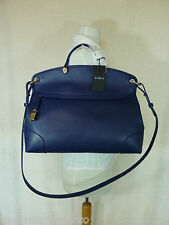 NWT FURLA Navy Blue/Gold Piper Saffiano Leather Satchel/Cross Body Bag $448