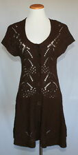 Anthropologie Sparrow Sweater Cardigan Dress Small Brown Wool Blend Crochet 15