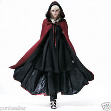 Punk Rave Winter Coat Jacket Womens Fashion Red Casual Long Vampire Witch Cape