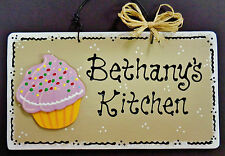 Taupe Sign CUPCAKE Personalized Name KITCHEN Decor Country Wall Hanger Plaque