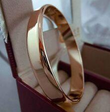 18K Rose GOLD GF Plain Solid Oval Bracelet Bangle -60mm! 18ct gf
