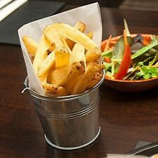 4x  STEEL BUCKETS GALVANISED food serving chips tapas fries CHIP BUCKET 10cm