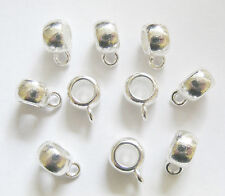 10 Silver Plated Dangle Bails for Charm Bracelet