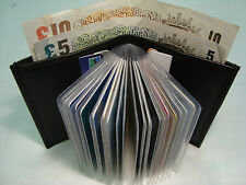Leather Credit Card Holder Black for 25 Cards and Paper Money  Section