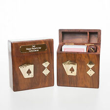Personalised Wooden PLAYING CARDS & DICE Gift For Best Man/Usher/Page Boy/Dad