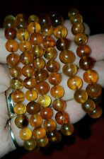 100% long Natural Mexican gold round amber bead necklace without clasp 24.8gr