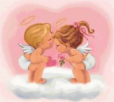 Cross Stitch Chart Pattern Baby Angels Kissing Needlework Picture Design Craft