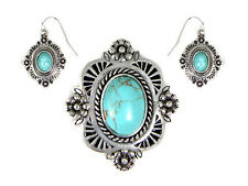 Western Cowgirl Jewelry Faux Turquoise Antique Silver Plated Jewelry Set