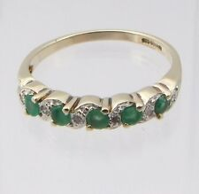 9CARAT 9CT YELLOW GOLD EMERALD & DIAMOND HALF ETERNITY RING SIZE P 2 GRAMS