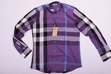 Mens Dress Shirt Checked Purple Color Long Sleeve Size 3XL Button Down Collar