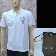 GUCCI New sz XL Mens Designer Authentic Logo Horse Slim White Polo Shirt