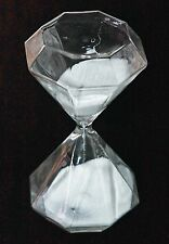NEW RARE OCTAGON SHAPE PURE WHITE SAND CLEAR GLASS MEDIUM HOURGLASS 30 min TIMER