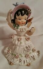 Lefton APRIL Birthday Angel Girl Figurine w Rhinestones - Easter / Spring