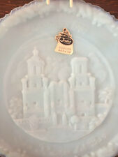 Fenton Blue Milk Glass 1981 Christmas Plate, San Javier del Bac story featured