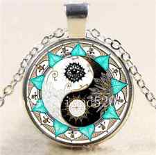 Yin Yang Mandala Photo Cabochon Glass Tibet Silver Chain Pendant  Necklace