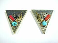 Vintage Silver Turquoise & Coral Shirt Collar Clip Points Tips