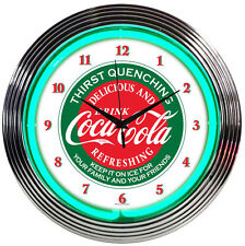 """Coca-Cola Thirst Quenching Evergreen Green Neon Hanging Wall Clock 15"""" Diameter"""