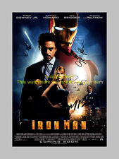 "IRON MAN CAST X3 PP SIGNED POSTER 12""X8"" DOWNEY JR N2"