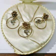 parure bijou ancien collier boucles d'oreilles vis coffret couleur or cristal C4